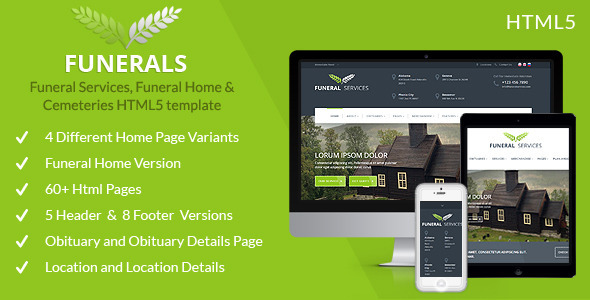 Funeral Service, Funeral Home & Cemeteries HTML5