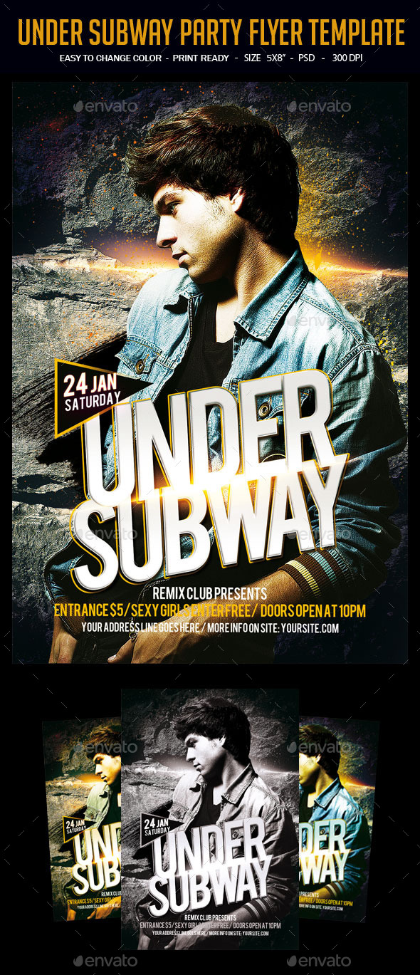 GraphicRiver Under Subway Party Flyer Template 11972554