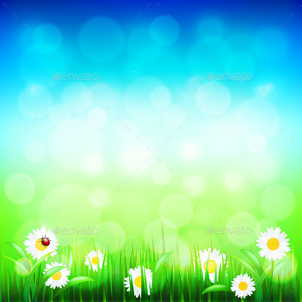 GraphicRiver Green Grass and Blue Sky with Flowers 11972563