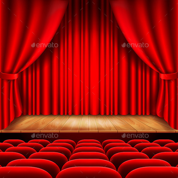 GraphicRiver Theater Stage with Red Curtain and Seats 11972647