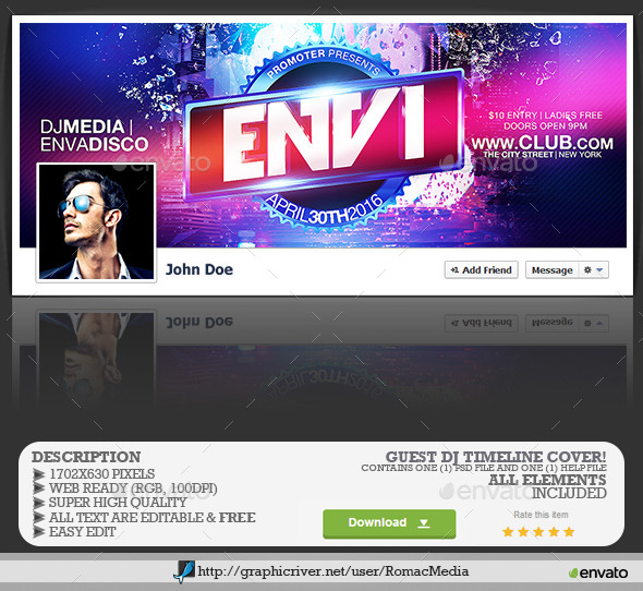 GraphicRiver Guest DJ Facebook Timeline Cover 11972916