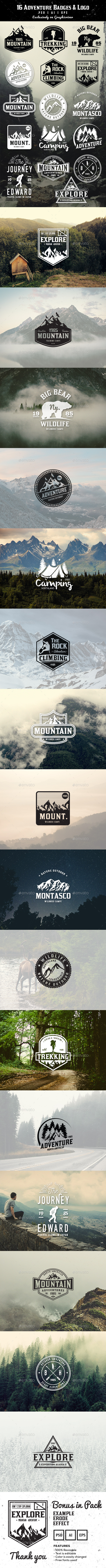 GraphicRiver 16 Adventure Badges & Logo 11973456