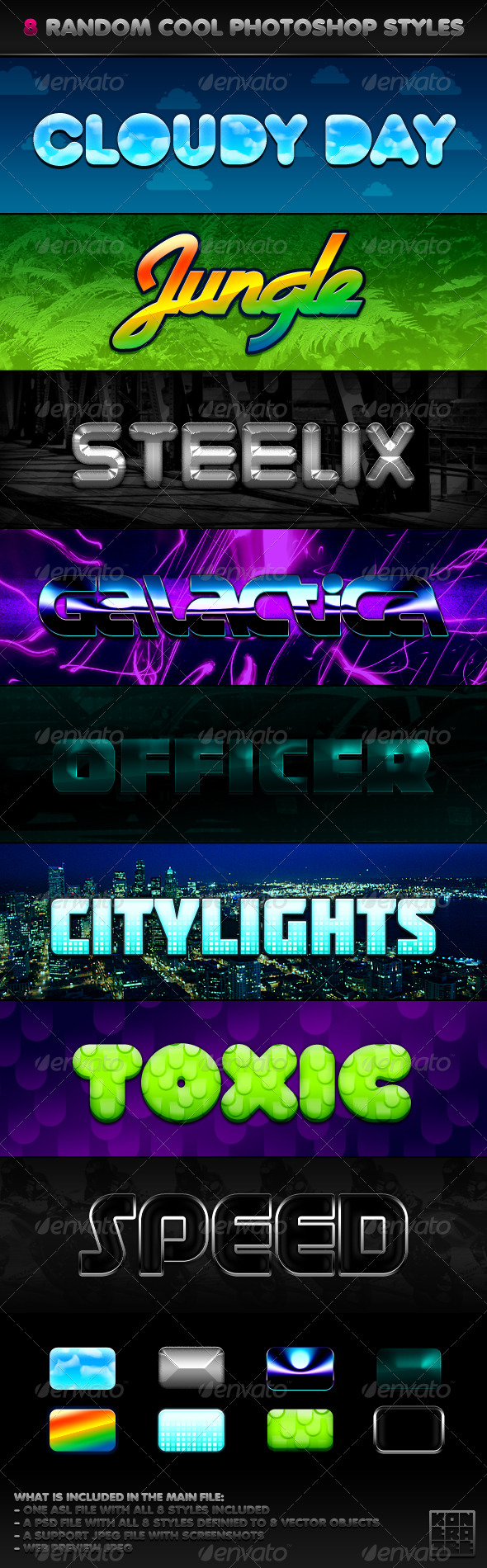 8 Random Cool Photoshop Styles - Text Effects Styles