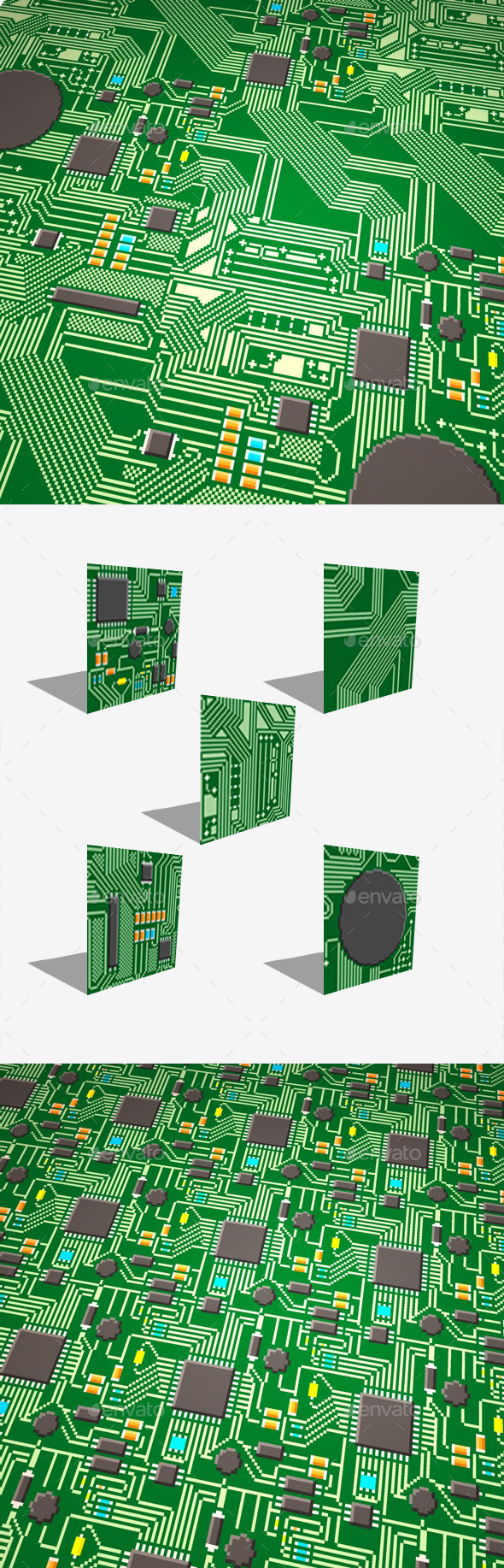 GraphicRiver 5 Circuit Board Pixel Seamless Modular Textures 11893497
