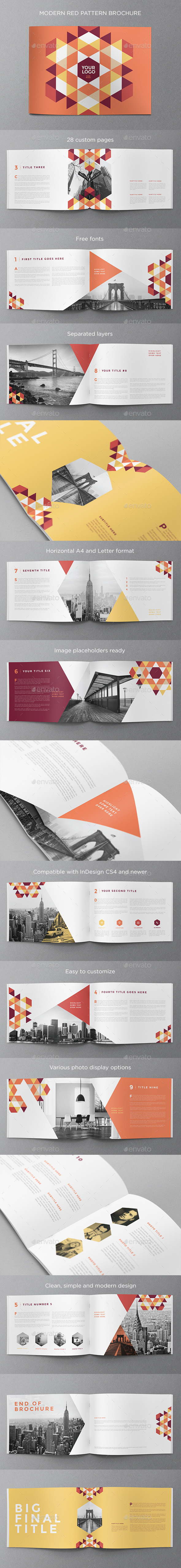 GraphicRiver Modern Red Pattern Brochure 11973823
