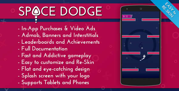 CodeCanyon Space Dodge Admob & IAP & Leaderboards 11973948