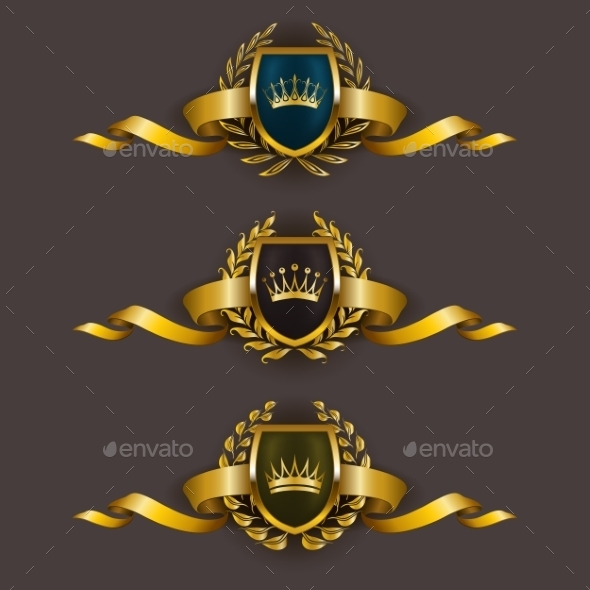 GraphicRiver Golden Shields with Laurel Wreath 11973968