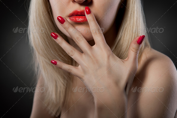woman with red nails - Stock Photo - Images