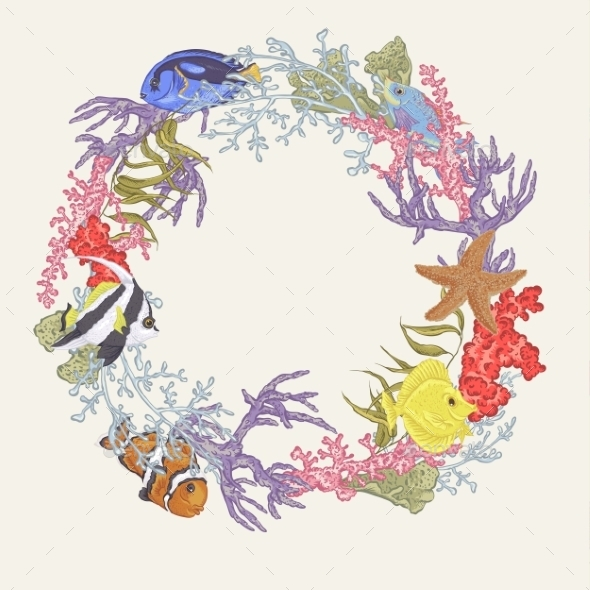 GraphicRiver Sea Life Vintage Round Frame With Fish And Seaweed 11974356