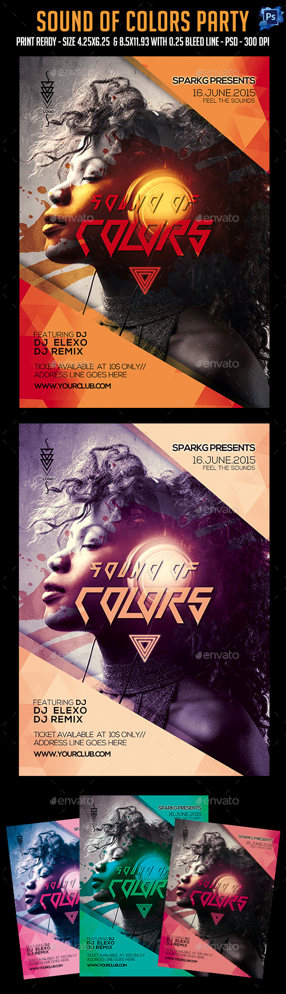 GraphicRiver Sound Of Color Party Flyer 11974360