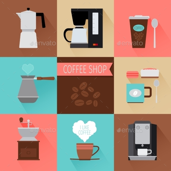 GraphicRiver Coffee Flat Icons 11974428