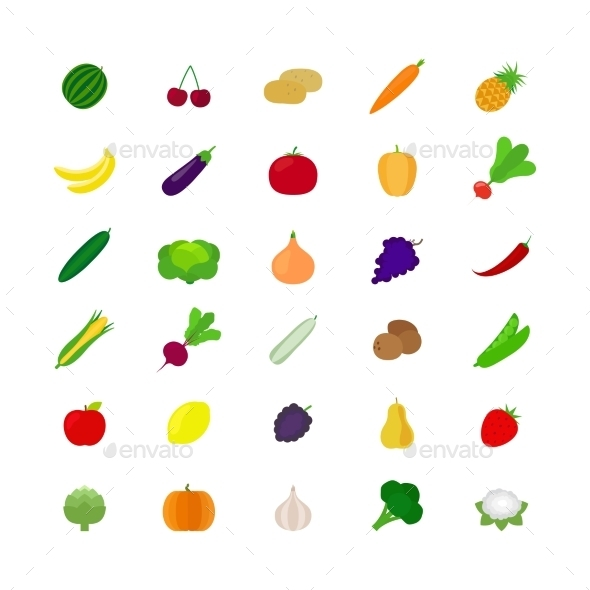 GraphicRiver Vegetables and Fruit Flat Icons 11974433