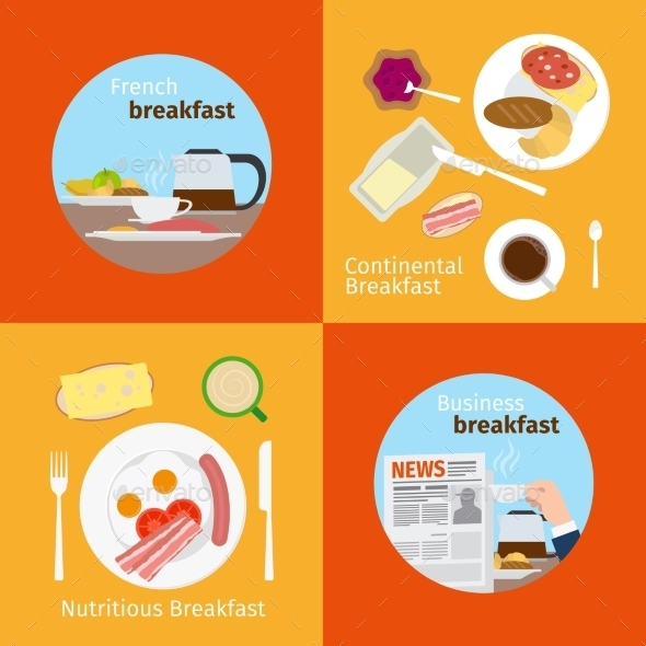 GraphicRiver Continental and French Breakfast Concepts 11974442