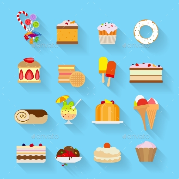 GraphicRiver Sweets Flat Icons 11974446