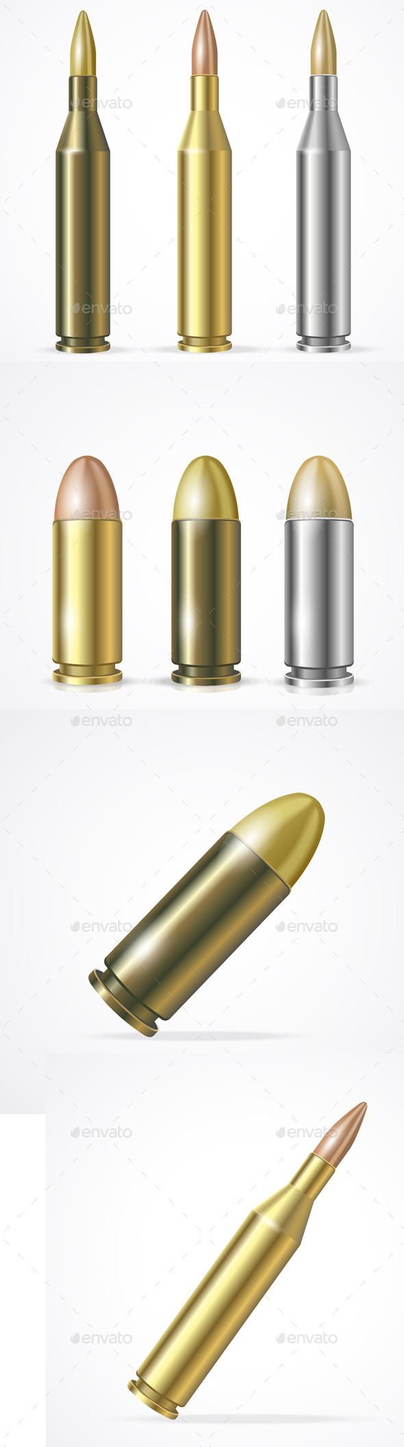 GraphicRiver Rifle and Pistol Bullet Set 11974598