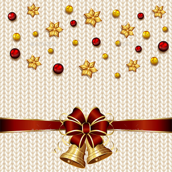 GraphicRiver Christmas Bells on White Knitted Pattern 11974771