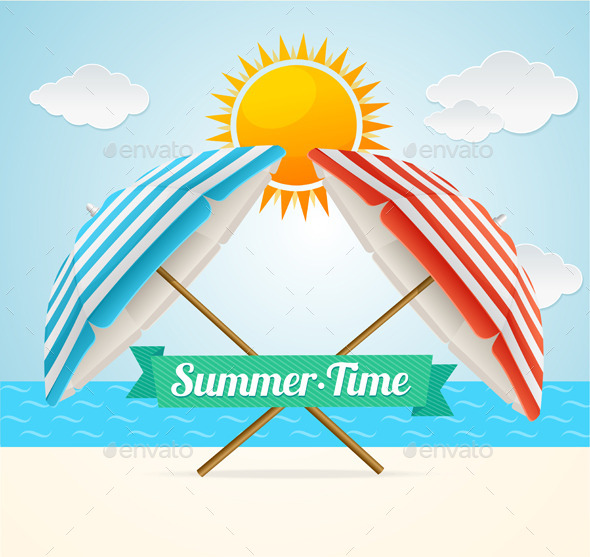 GraphicRiver Beach Umbrella Summer Card 11974787