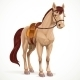 Beige Horse Saddled and in Harness - GraphicRiver Item for Sale