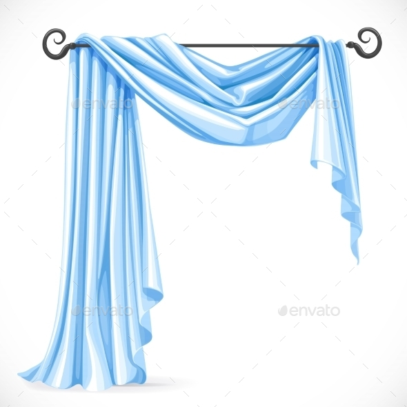 GraphicRiver Blue Asymmetric Curtains 11975583