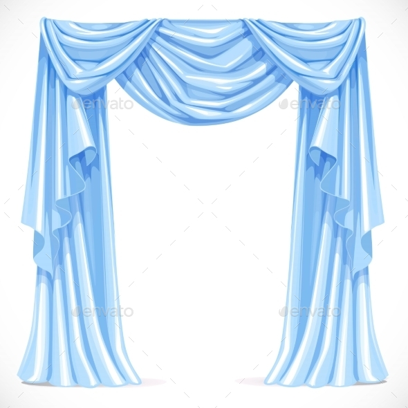 GraphicRiver Blue Curtain Draped with Pelmet 11975601