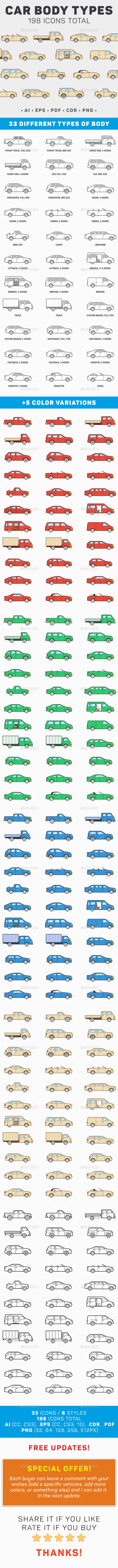 GraphicRiver 33 Car Body Types Icon Set 11975617