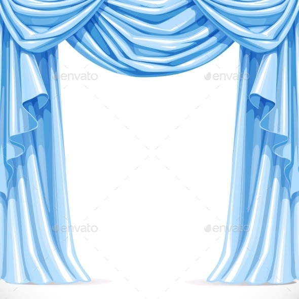 GraphicRiver Big Blue Curtain Draped with Pelmet 11975690