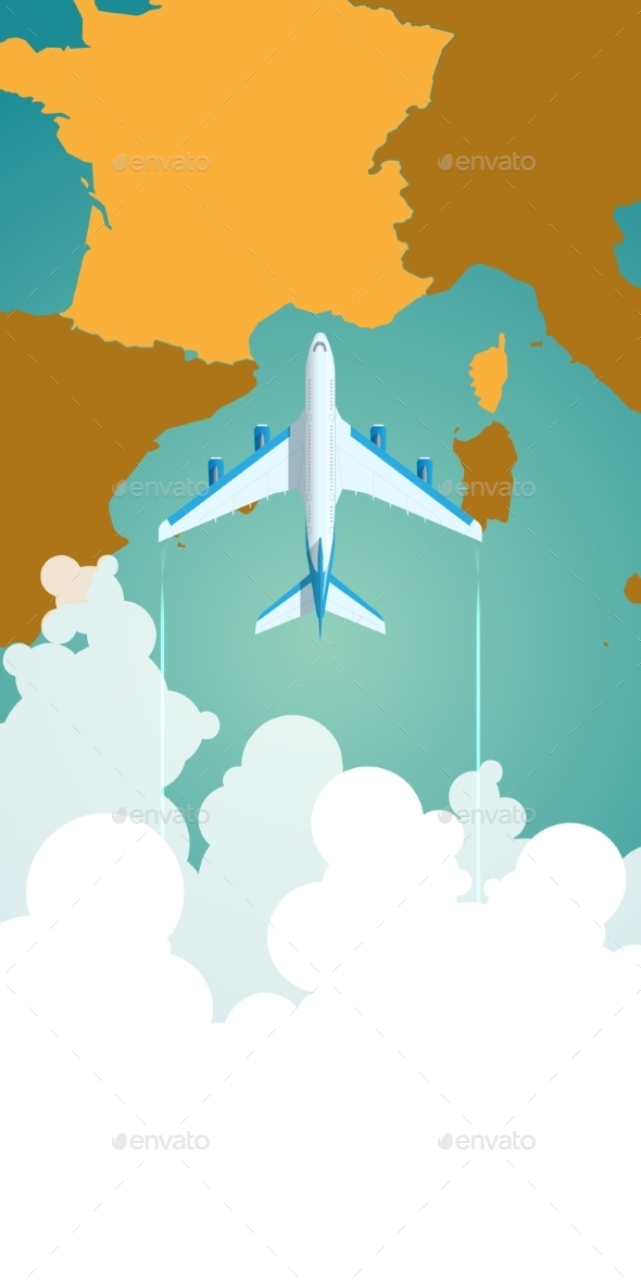 GraphicRiver Airplane Flying Through Clouds Above a Map 11975784