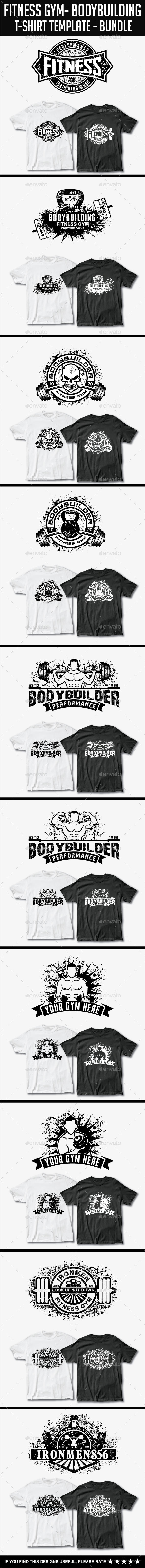 GraphicRiver 10 Fitness T-Shirt Template Bundle 11958686