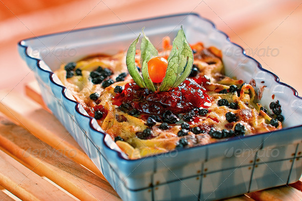 Baked pasta with cranberries - Stock Photo - Images