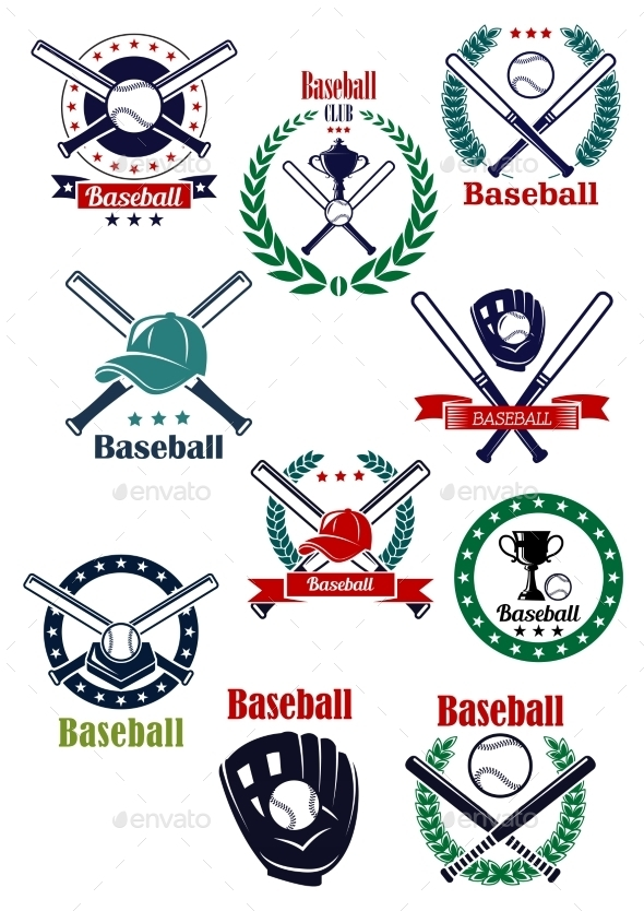 GraphicRiver Baseball Game Retro Emblems And Icons 11976920