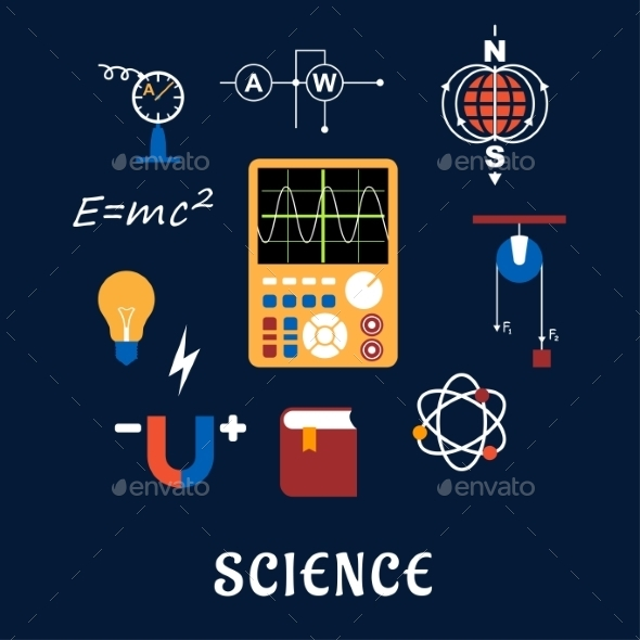 GraphicRiver Science Physics Flat Icons Set 11976961
