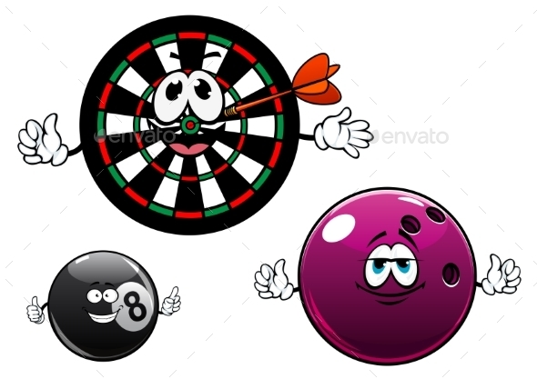 GraphicRiver Cartoon Bowling Billiard And Dartboard Characters 11976962