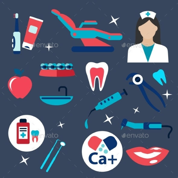 GraphicRiver Dentistry And Hygiene Flat Icons 11976964
