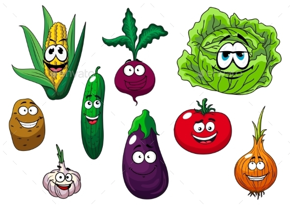 GraphicRiver Fresh Tasty Cartoon Vegetables Characters 11976971