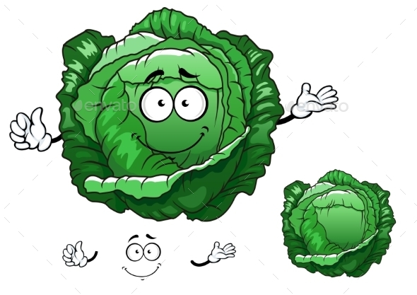 GraphicRiver Cartoon Crunchy Cabbage Vegetable Character 11976976