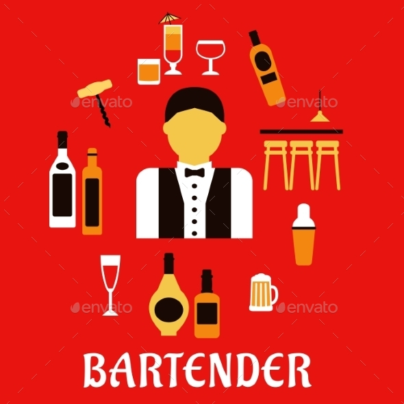 GraphicRiver Bartender With Cocktails Profession Flat Concept 11976979