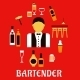 Bartender With Cocktails. Profession Flat Concept - GraphicRiver Item for Sale