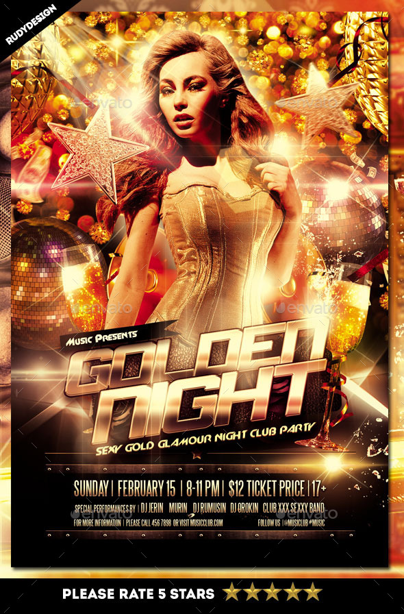 GraphicRiver Golden Night Club Party Flyer 11977056