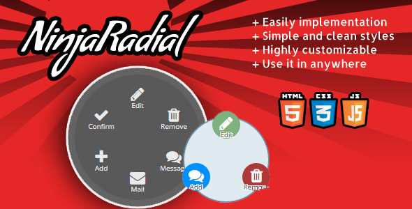 NinjaRadial – clean radial jquery menu  (Navigation) Download