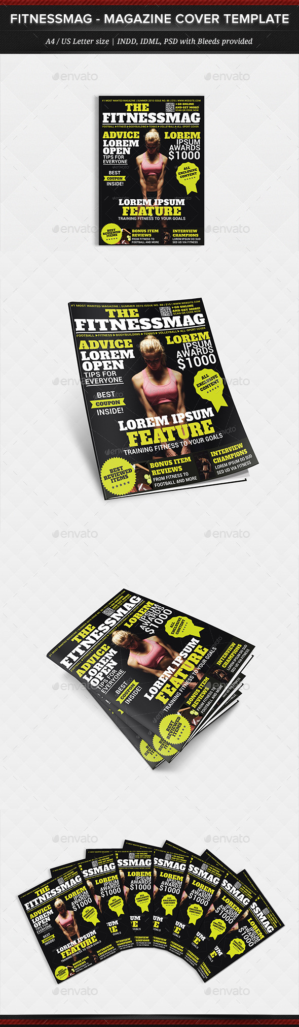 GraphicRiver FitnessMag Multipurpose Magazine Cover Template 11977412