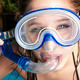 teen with mask in pool background