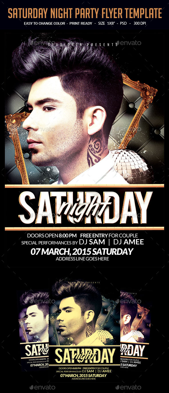 GraphicRiver Saturday Night Party Flyer Template 11977554