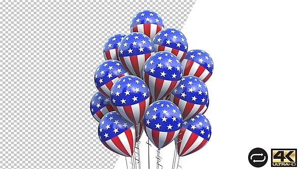 Balloons American Flag Spinning