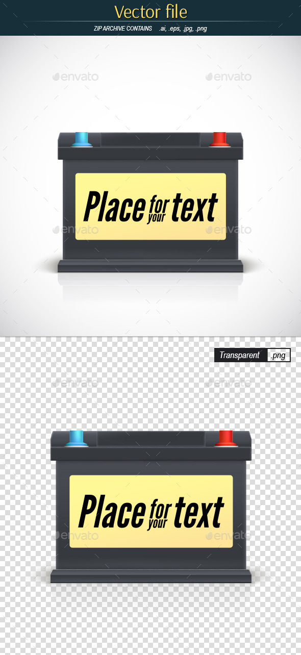 GraphicRiver Car Battery with Place for Your Advertising 11978297