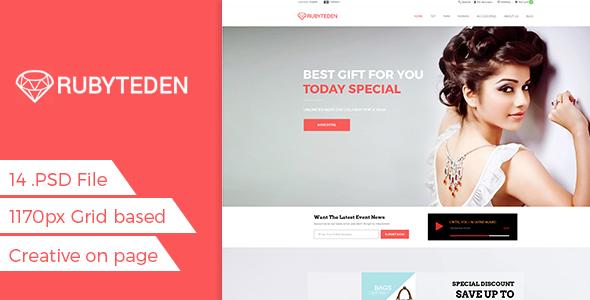 RubyTeden Shop – eCommerce Shopping PSD Template (Fashion) Download