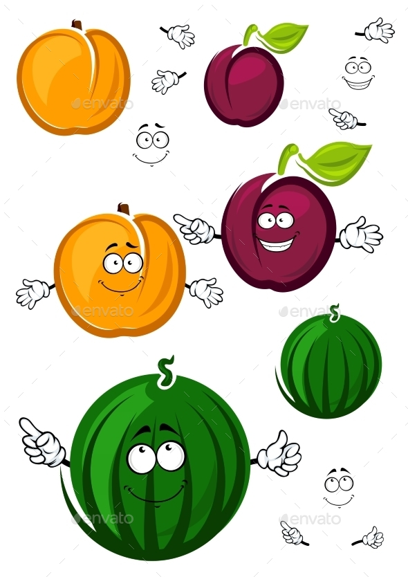 GraphicRiver Sweet Cartoon Peach Watermelon And Plum 11978674