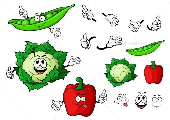 GraphicRiver Cartoon Cauliflower Pepper And Pea Pod Vegetables 11978679