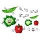 Cartoon Cauliflower, Pepper And Pea Pod Vegetables - GraphicRiver Item for Sale