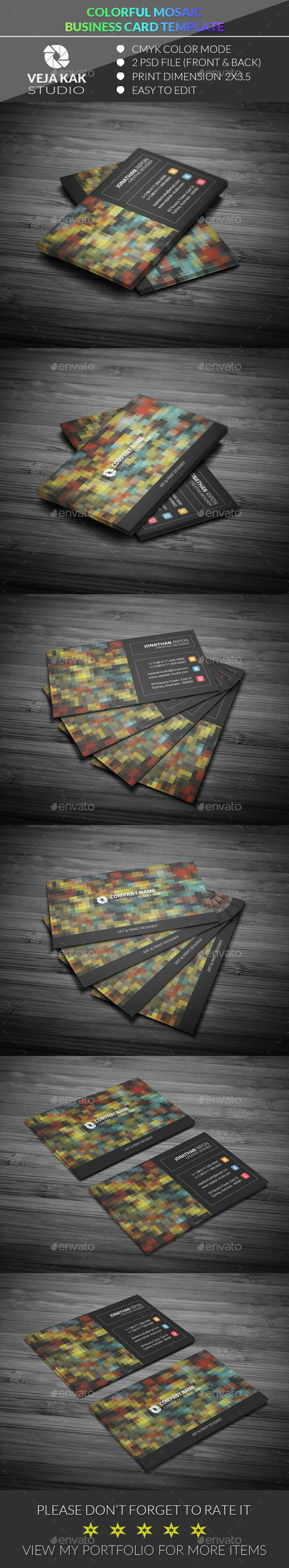 GraphicRiver Colorful Mosaic Business Card 11980019