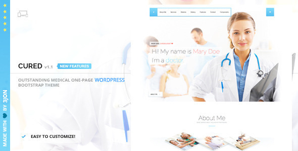 Cured – Responsive One Page WP Theme (Health & Beauty) Download